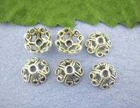 20 Antique Silver Flower End Bead Caps 10mm